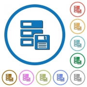Backup concept flat color vector icons with shadows in round outlines on white background - Backup concept icons with shadows and outlines