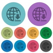 Download from internet darker flat icons on color round background - Download from internet color darker flat icons