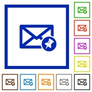 Pin mail flat color icons in square frames on white background - Pin mail flat framed icons
