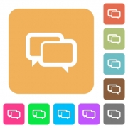 Chat bubbles flat icons on rounded square vivid color backgrounds. - Chat bubbles rounded square flat icons