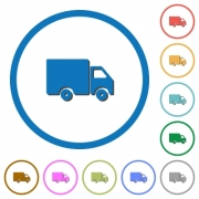 Delivery truck flat color vector icons with shadows in round outlines on white background - Delivery truck icons with shadows and outlines