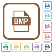 BMP file format simple icons in color rounded square frames on white background - BMP file format simple icons