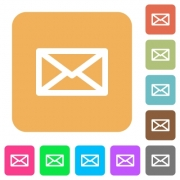 Message flat icons on rounded square vivid color backgrounds. - Message rounded square flat icons
