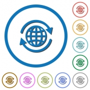 International flat color vector icons with shadows in round outlines on white background - International icons with shadows and outlines