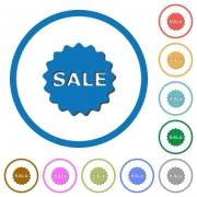 Sale badge flat color vector icons with shadows in round outlines on white background - Sale badge icons with shadows and outlines