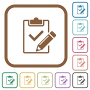 Fill out checklist simple icons in color rounded square frames on white background - Fill out checklist simple icons