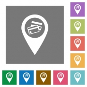 Credit card acceptance GPS map location flat icons on simple color square backgrounds - Credit card acceptance GPS map location square flat icons