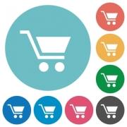 Empty shopping cart flat white icons on round color backgrounds - Empty shopping cart flat round icons