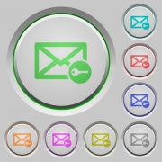 Secure mail color icons on sunk push buttons - Secure mail push buttons