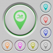 Swimming pool GPS map location color icons on sunk push buttons - Swimming pool GPS map location push buttons