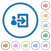 User login flat color vector icons with shadows in round outlines on white background - User login icons with shadows and outlines