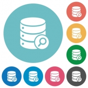 Database search flat white icons on round color backgrounds - Database search flat round icons