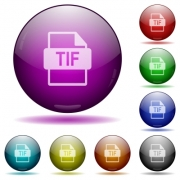 TIF file format icons in color glass sphere buttons with shadows - TIF file format glass sphere buttons