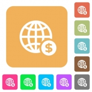 Online dollar payment flat icons on rounded square vivid color backgrounds. - Online dollar payment rounded square flat icons