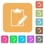 Blank notepad with pencil flat icons on rounded square vivid color backgrounds. - Blank notepad with pencil rounded square flat icons