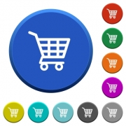 Shopping cart round color beveled buttons with smooth surfaces and flat white icons - Shopping cart beveled buttons