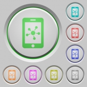 Mobile social network color icons on sunk push buttons - Mobile social network push buttons