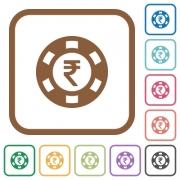 Indian Rupee casino chip simple icons in color rounded square frames on white background - Indian Rupee casino chip simple icons