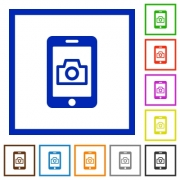 Mobile photography flat color icons in square frames on white background - Mobile photography flat framed icons