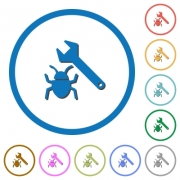 Bug fixing flat color vector icons with shadows in round outlines on white background - Bug fixing icons with shadows and outlines