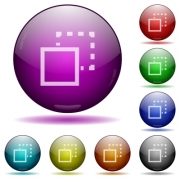 Send to back icons in color glass sphere buttons with shadows - Send to back glass sphere buttons