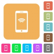 Cellphone with wireless network symbol flat icons on rounded square vivid color backgrounds. - Cellphone with wireless network symbol rounded square flat i
