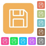 Save flat icons on rounded square vivid color backgrounds. - Save rounded square flat icons