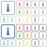 Thermometer color flat icons in rounded square frames. Thin and thick versions included. - Thermometer outlined flat color icons