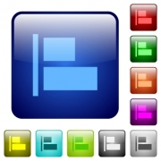 Align to left icons in rounded square color glossy button set - Align to left color square buttons