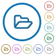 Open folder flat color vector icons with shadows in round outlines on white background - Open folder icons with shadows and outlines