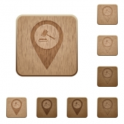 Court house GPS map location on rounded square carved wooden button styles - Court house GPS map location wooden buttons