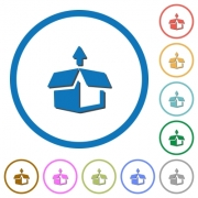 Unpack flat color vector icons with shadows in round outlines on white background - Unpack icons with shadows and outlines