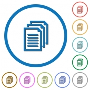 Multiple documents flat color vector icons with shadows in round outlines on white background