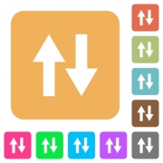 Data traffic flat icons on rounded square vivid color backgrounds. - Data traffic rounded square flat icons