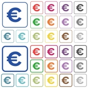Euro sign color flat icons in rounded square frames. Thin and thick versions included.