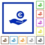 Euro earnings flat color icons in square frames on white background - Euro earnings flat framed icons