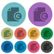Euro financial report darker flat icons on color round background - Euro financial report color darker flat icons
