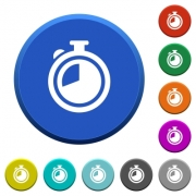 Timer round color beveled buttons with smooth surfaces and flat white icons - Timer beveled buttons