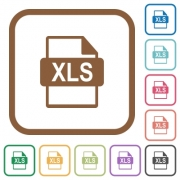 XLS file format simple icons in color rounded square frames on white background - XLS file format simple icons
