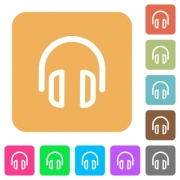 Headset flat icons on rounded square vivid color backgrounds. - Headset rounded square flat icons