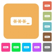 PIN code flat icons on rounded square vivid color backgrounds. - PIN code rounded square flat icons