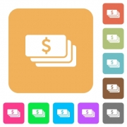 Dollar banknotes flat icons on rounded square vivid color backgrounds. - Dollar banknotes rounded square flat icons