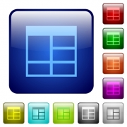 Spreadsheet vertically merge table cells icons in rounded square color glossy button set