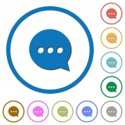 Working chat flat color vector icons with shadows in round outlines on white background - Working chat icons with shadows and outlines