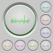 Radio tuner color icons on sunk push buttons - Radio tuner push buttons