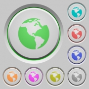 Earth color icons on sunk push buttons - Earth push buttons