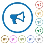 Megaphone flat color vector icons with shadows in round outlines on white background - Megaphone icons with shadows and outlines