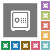 Strong box flat icons on simple color square backgrounds - Strong box square flat icons
