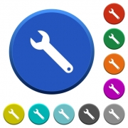 Single wrench round color beveled buttons with smooth surfaces and flat white icons - Single wrench beveled buttons