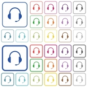 Headset with microphone color flat icons in rounded square frames. Thin and thick versions included. - Headset with microphone outlined flat color icons